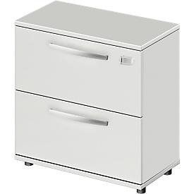 Schäfer Shop Select Armario para archivadores colgantes LOGIN, 2 cajones, con cerradura, An 800 x P 420 x Al 744mm, gris luminoso/gris luminoso