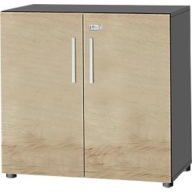 Schäfer Shop Select Armario SET UP, 2 AA, con cerradura, An 800 x P 420 x Al 744mm, grafito/roble