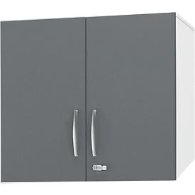 Schäfer Shop Select Armario superior LOGIN, 2 alturas de archivo, tiradores abajo, An 800 x P 420 x Al 726mm, blanco/grafito