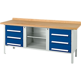 Schäfer Shop Select Banco de trabajo PW 200-2, gris luminoso/azul