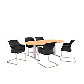 Schäfer Shop Select Besprechungstisch Planova Basic, Oval, T-Fuß, B 2000 x T 1000 x H 717 mm, Buche/weißaluminium RAL 9006