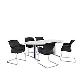 Schäfer Shop Select Besprechungstisch Planova Basic, Oval, T-Fuß, B 2000 x T 1000 x H 717 mm, weiß/weißaluminium RAL 9006