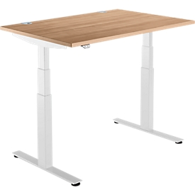 Schäfer Shop  Select Bureautafel DRIVE UP 2, T-poot, rechthoek, tweetraps elektrisch in hoogte verstelbaar, B 1200 mm, kersen romana/wit