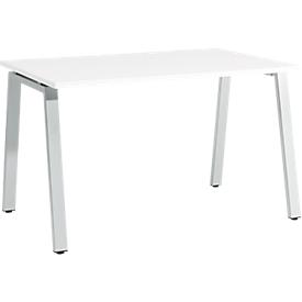 Schäfer Shop  Select Bureautafel Start Up, A-poot, rechthoek, staal/hout, B 1200 x D 800 x H 735 mm, wit