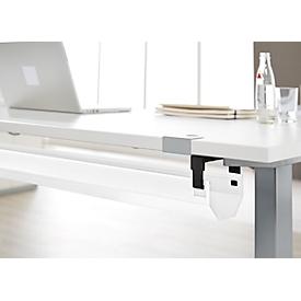 Schäfer Shop Select Canaleta metálica para cables, plegable y telescópica, 1024 - 1624 mm, blanca