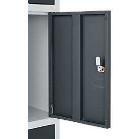 Schäfer Shop Select Columna de casilleros de seguridad S5, con cerradura de cilindro, aluminio blanco/antracita