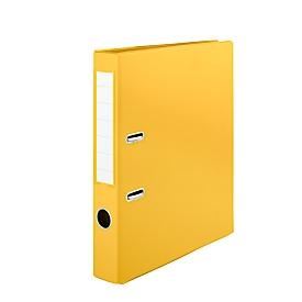Schäfer Shop  Select Dossiermap, formaat A4, met verwisselbaar rugetiket & grijpgat, afwasbaar, rugdikte 50 mm, PVC, geel, 10 stuks