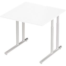 Schäfer Shop Select Escritorio COMBITEC, An 800 x P 800 x Al 677 - 817mm, blanco/aluminio blanco