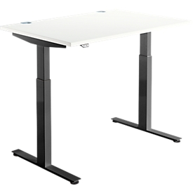 Schäfer Shop Select Escritorio DRIVE UP 1, pata en T, rectangular, ajustable en altura eléctr. en 1 nivel, An 1200mm, blanco/negro