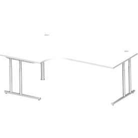 Schäfer Shop Select Escritorio en L 90° COMBITEC, An 2000 x P 800mm, blanco/aluminio blanco