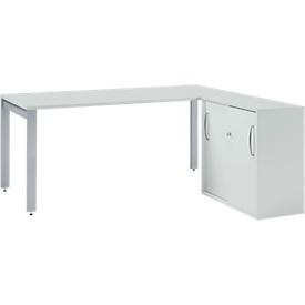 Schäfer Shop Select Escritorio LOGIN, 1600mm + armario auxiliar de puertas correderas LOGIN SET, gris luminoso