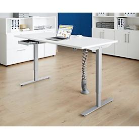 Schäfer Shop Select Escritorio Start Up, ajustable en altura eléctr., base de pata en T, 1600 x 800mm, blanco + guía de cables, cajón de accesorios