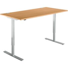 Schäfer Shop Select Escritorio START UP, ajustable en altura eléctr. en 1 nivel, An 1600mm, haya/aluminio blanco