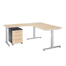 Schäfer Shop Select Escritorio Start Up Juego de muebles de oficina de 3 piezas, rectangular, pata en T, ancho 1800 x fondo 800 x alto 735 mm + mesa extensible, bandeja de rodillos, arce/grafito + arce