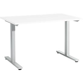 Schäfer Shop Select Escritorio Start Up, pata en T, rectangular, acero/madera, An 1200 x P 800 x Al 735mm, blanco