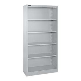 Schäfer Shop Select Estantería de acero MS iCONOMY, 5 alturas de archivo, An 800 x P 400 x Al 1935mm, aluminio blanco RAL 9006