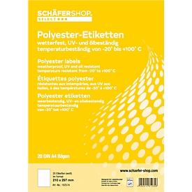 Schäfer Shop Select Etiquetas resistentes a la intemperie, 210 x 297 mm, poliéster blanco, 20 hojas