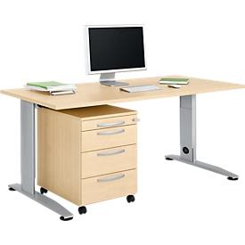 Schäfer Shop Select Juego de muebles de oficina 2 unidades Escritorio con pata en C LOGIN, ancho 1600 mm + cajonera móvil, 3 cajones, bandeja para material, cierre centralizado, diseño de arce