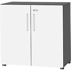 Schäfer Shop  Select Kast SET UP, 2 ordnerhoogten, afsluitbaar, B 800 x D 420 x H 744 mm, grafiet/wit