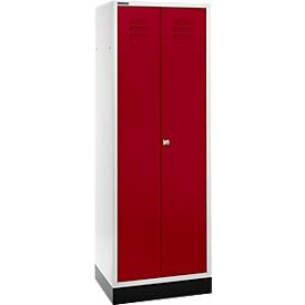 Schäfer Shop  Select Kledinglocker, 2 deuren, met cilinderslot lichtgrijs/robijnrood