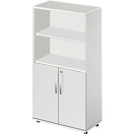 Schäfer Shop Select Kombischrank LOGIN, oben 2 Regale, unten 2 Ordnerhöhen mit Türen, B 800 x T 420 x H 1470 mm, weiß/weiß