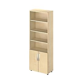 Schäfer Shop Select Kombischrank LOGIN, oben 4 Regale, unten 2 Ordnerhöhen mit Türen, B 800 x T 420 x H 2196 mm, Ahorn Dekor/Ahorn Dekor