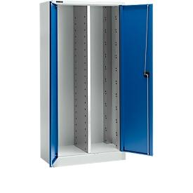 Schäfer Shop  Select Materiaalkast MS 2509, B 950 x D 500 x H 1935 mm, aluminium zilver/gentiaanblauw