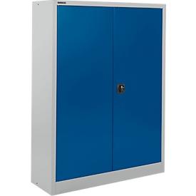 Schäfer Shop  Select Materiaalkast MSI 16412, B 1200 x D 400 x H 1535 mm, 3 legplanken, staal, wit aluminium RAL 9006/enzichtblauw RAL 5010, B 1200 x D 400 x H 1535 mm, 3 legplanken.