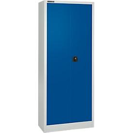 Schäfer Shop Select Material del armario MS 2408, H 1935 mm, carcasa vacía, aluminio blanco RAL 9006/azul benigno