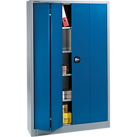 Schäfer Shop Select Materialschrank MSF 2412, B 1200 x T 400 x H 1935 mm, weißaluminium RAL 9006/enzianblau