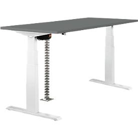 Schäfer Shop Select Mesa, ajustable eléctr. en 2 niveles, An 1600mm, gris oscuro/blanco