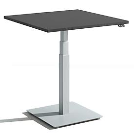 Schäfer Shop Select Mesa auxiliar de una columna START UP, regulable en altura eléctricamente, ancho 800 x fondo 800 mm, gris grafito