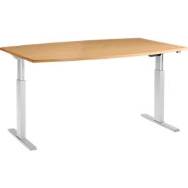 Schäfer Shop Select Mesa de reuniones ERGO-T, pata en T, forma de barca, ajustable en altura eléctr. 1 nivel, An 2000 x Al 725-1195mm, haya