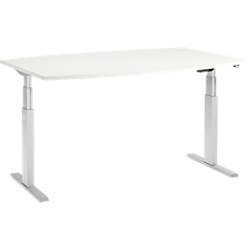 Schäfer Shop Select Mesa de reuniones ERGO-T, pata en T, forma de barca, ajustable en altura eléctr. 2 niveles, An 2000 x Al 645-1305mm, blanco