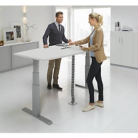 Schäfer Shop Select Mesa de reuniones ERGO-T, pata en T, forma de barca, módulo de conexiones, ajustable en altura eléctr. 2 niveles, An 2000 x Al 645-1305mm, gris luminoso