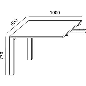 Schäfer Shop Select Mesa extensible LOGIN, 4 pies, rectangular, ancho 1000 x fondo 600 x alto 740 mm, acabado arce