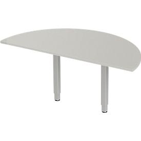 Schäfer Shop Select Mesa extensible PLANOVA ergoSTYLE, 1/2 círculo, aluminio gris claro/blanco