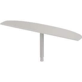 Schäfer Shop Select Mesa extensible PLANOVA ergoSTYLE, elipse, ancho 1800 x fondo 400 mm, aluminio gris claro/blanco