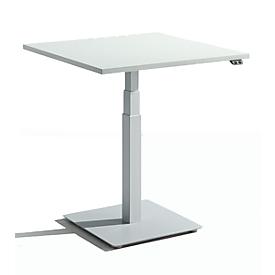 Schäfer Shop Select Monosäulen-Beistelltisch Start Up, elektrisch höhenverstellbar, B 800 x T 800 mm, lichtgrau