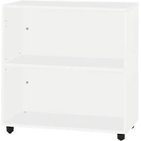 Schäfer Shop Select Regal LOGIN, 2 Ordnerhöhen, B 800 x T 420 x H 744 mm, weiß/weiß