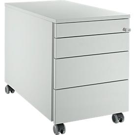Schäfer Shop Select Rollcontainer 1233, mit Griffnut, B 435 x H 567 mm, lichtgrau/lichtgrau/lichtgrau