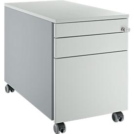 Schäfer Shop Select Rollcontainer 126, mit Griffnut, weißalu/lichtgrau/lichtgrau