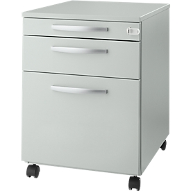Schäfer Shop Select Rollcontainer Login, HR-Auszug+Utensilienauszug+Schublade, abschließbar, Holz, B 431 x T 580 x H 595 mm, lichtgrau/lichtgrau