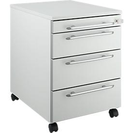 Schäfer Shop Select Rollcontainer Moxxo IQ 1233, runder Griff, 1 Utensilienfach, 3 Schübe, B 432 x T 580 x H 595 mm, abschließbar, lichtgrau