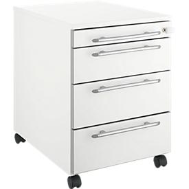 Schäfer Shop Select Rollcontainer Moxxo IQ 1233, runder Griff, 1 Utensilienfach, 3 Schübe, B 432 x T 580 x H 595 mm, abschließbar, weiß