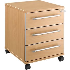 Schäfer Shop Select Rollcontainer Moxxo IQ 333, 3 Schübe, B 410 x T 495 x H 510 mm, abschließbar, Buche-Dekor