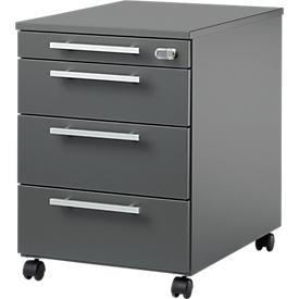Schäfer Shop Select Rollcontainer SET UP, abschließbar, B 432 x T 580 x H 595 mm, graphit/graphit