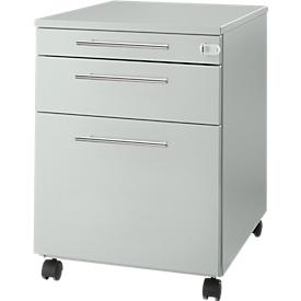 Schäfer Shop Select Rollcontainer Start UP 126, Utensilien-, Hängeregisterauszug, Schublade, abschließbar, B 432 x T 580 x H 595 mm, lichtgrau