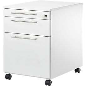 Schäfer Shop Select Rollcontainer Start UP 126, Utensilien-, Hängeregisterauszug, Schublade, abschließbar, B 432 x T 580 x H 595 mm, weiß/weiß