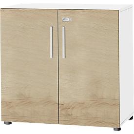 Schäfer Shop Select Schrank SET UP, 2 OH, abschließbar, B 800 x T 420 x H 744 mm, weiß/eiche